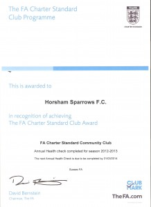 FA Community Charter Club Certificate