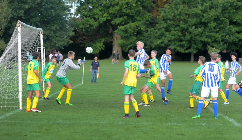 b94e23661 Will heads home the first goal against Dorkinians (Photo by Jon Rigby)
